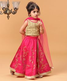 Babyhug Lehenga Choli With Netted Dupatta Sequin & Thread Work - Dark Pink