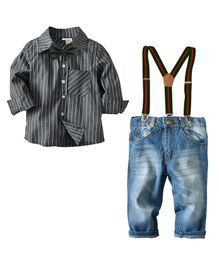 Pre Order - Awabox Striped Shirt & Denim Jeans With Suspenders - Grey