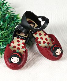 Cutewalk by Babyhug Sandal Style Clogs Girl Face Applique - Red Black