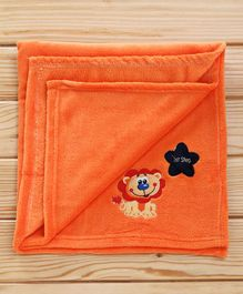 1st Step Fleece Blanket Lion Embroidered - Orange