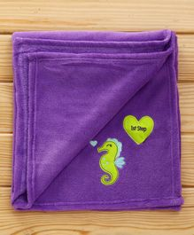 1st Step Fleece Blanket Sea Horse Embroidered - Purple