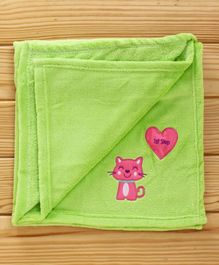 1st Step Baby Blanket Kitty Patch - Green