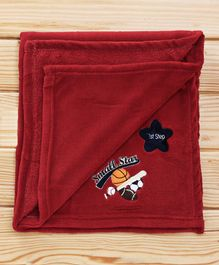 1st Step Fleece Blanket Small Star Embroidered - Maroon