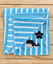 1st Step Fleece Blanket Fish Embroidered - Blue