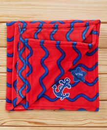 1st Step Fleece Blanket Wave Design - Orange & Blue