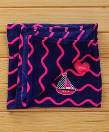 1st Step Baby Blanket Ship Patch - Blue