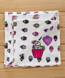 1st Step Fleece Baby Blanket Cupcake Patch - White