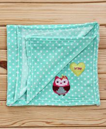 1st Step Fleece Blanket Owl Patch - Sea Green