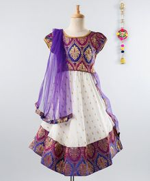 Babyhug Short Sleeves Lehenga Choli Set With Dupatta - Purple