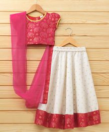 Babyhug Short Sleeves Lehenga Choli Set With Dupatta - Dark Pink