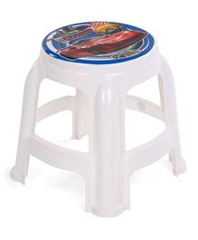 Ratnas Plastic Stool Racing Car Print - White