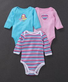 Hudson Baby Bird Printed Pack of 3 Onesies - Blue & Pink