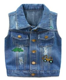 Pre Order - Awabox Sleeveless Denim Jacket - Blue