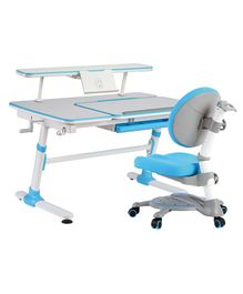 Kidomate Ergonomic Study Table With Chair - Blue