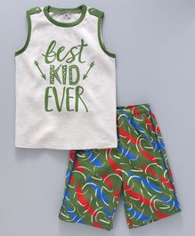 Ventra Best Kid Ever Print Tee & Shorts Set - Green