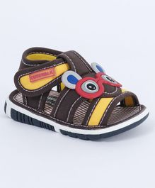 Cute Walk by Babyhug Checks Sandals Eyes Patch - Dark Brown