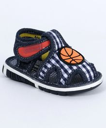 Cute Walk by Babyhug Checks Sandals Ball Patch - Navy