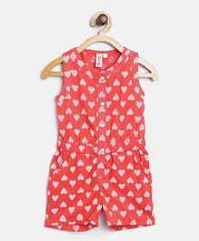 Kids On Board Heart Print Jumpsuit - Red