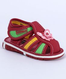 Cute Walk by Babyhug Sandals Butterfly Patch - Dark Red