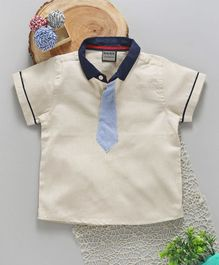 Rikidoos Half Sleeves Tie Attached T- Shirt - Cream