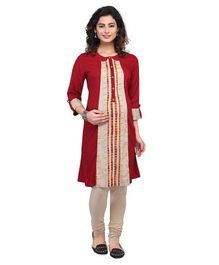 Kriti Three Fourth Sleeves Maternity Nursing Kurti - Maroon