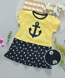 ToffyHouse Short Sleeves Frock Anchor Patch - Yellow Navy Blue