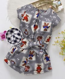 ToffyHouse Short Sleeves Jumpsuit With Belt Bear Print - Navy