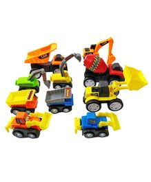 Emob Construction Pull Back Mini Truck Toys Pack of 10 - Multicolour