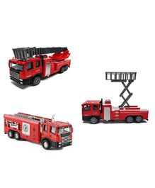 Emob Die Cast Pull Back Truck Toy With Light And Sound Pack Of 3 -0 Red