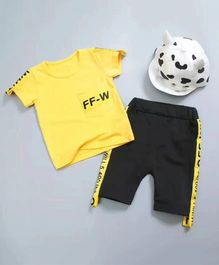 Aww Hunnie Solid Design Print Tee & Shorts Set - Yellow