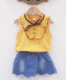 Aww Hunnie Frilly Top & Skirt Set - Yellow & Blue