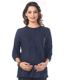 Kriti Three Fourth Sleeves Solid Maternity Nursing Top  - Navy