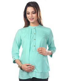 Kriti Three Fourth Sleeves Solid Maternity Nursing Top  - Blue