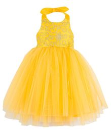 Toy Balloon Embroidered Halter Neck Party Dress - Yellow