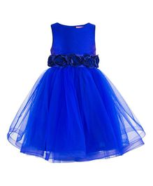 Toy Balloon Roses Applique Party Dress - Blue