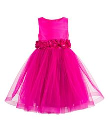 Toy Balloon Roses Applique Party Dress - Pink