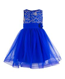 Toy Balloon Embroidered Party Wear Sleeveless Dress - Blue