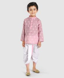 Babyhug Full Sleeves Kurta & Dhoti Set - Pink White