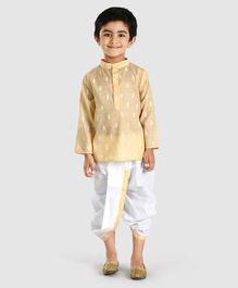 Babyhug Full Sleeves Kurta & Dhoti Set - Yellow White