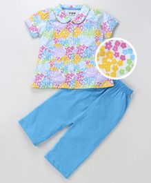 Fido Short Sleeves Night Suit Floral Print - Light Blue