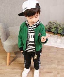 Dells World Striped Hoodie With Jacket & Bottom - Green & Black