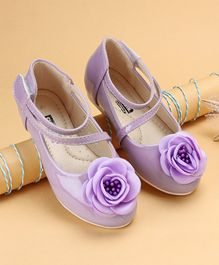 Cute Walk by Babyhug Party Wear Belly Shoes Flower Applique - Lavender