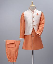 Babyoye Solid Kurta & Pyjama With Woven Jacket - Orange