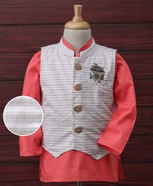 Rikidoos Full Sleeves Kurta With Half Sleeves Waist Coat - Pink & Off White