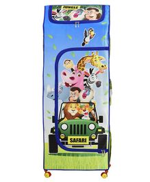 Big Cub 4 Shelves Baby Almirah Jungle Safari Print - Blue