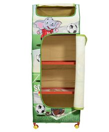 Big Cub 4 Shelves Baby Almirah Soccer Fever Print - Green