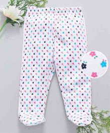 Babyhug Cotton Bootie Leggings Floral Print - White