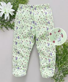 Babyhug Bootie Leggings Kitty Print - Sea Green & Purple