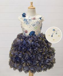 Enfance Roses Embellished Dress - Cream & Blue