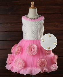 Enfance Party Wear Dress With Flowers Applique - Pink